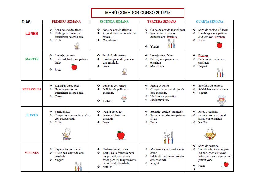 Menú del Comedor Escolar | Colegio Nuestra Señora del Carmen